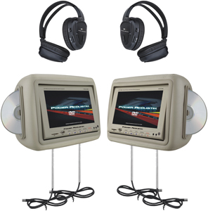 "Power Acoustik HDVD-9BG 8.8"" Universal Headrest Monitors with Twin DVD Player Combo, IR & FM Transmitters & 2 Pairs of Headph"