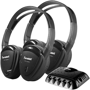 POWER ACOUSTIK HP-22IRT 2 SETS OF SINGLE-CHANNEL IR WIRELESS HEADPHONES WITH TRANSMITTER