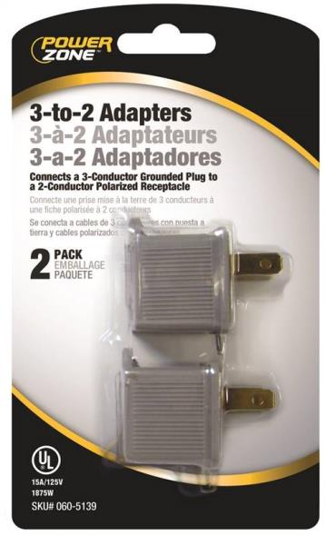 ADAPTERS 2PK 3 TO 2 GREY