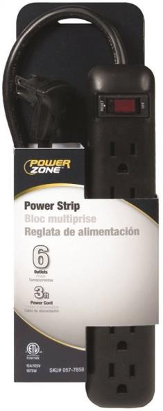 POWER STRIP BLK 6OUT 3FT