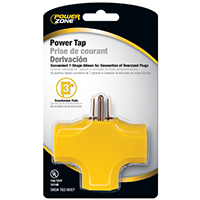 Powerzone ORAD0200 Grounded Outlet Tap, 3 Outlet, Yellow