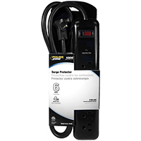Powerzone OR802225 Surge Protector Tap Strip, 125 V, 15 A, 6 Outlet, Black