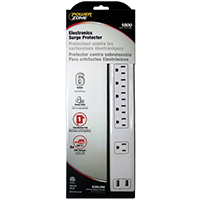 Powerzone OR505106 Surge Protector Strip, 125 V, 15 A, 6 Outlet, White