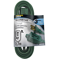 CORD EXT INDR 3OUT16/2X9FT GRN