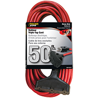 CORD EXT 3TAP14/3X50FT RED