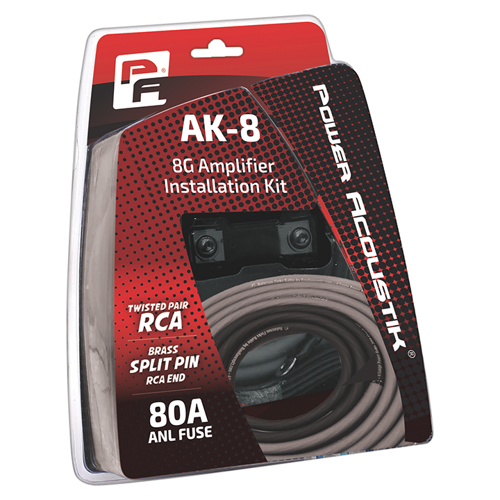 Power Acoustik 8 Gauge amp kit Mini Anl