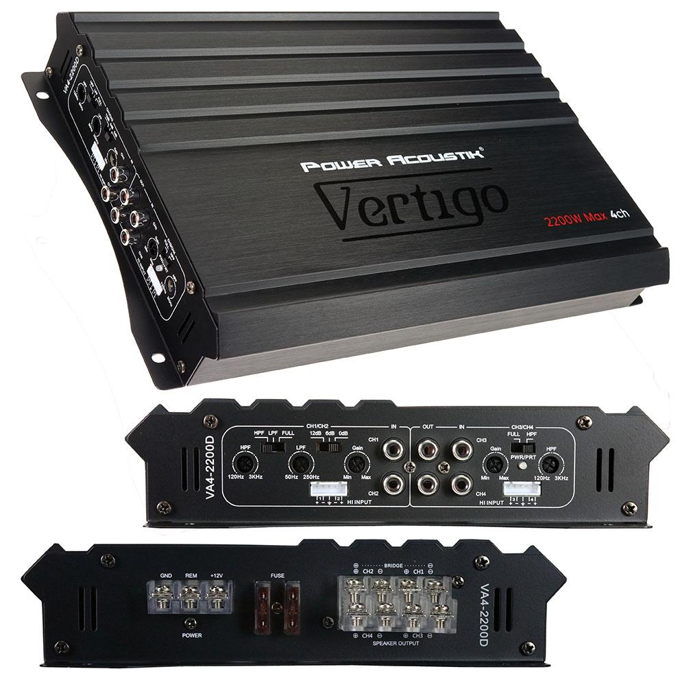 Power Acoustik Vertigo Series 4 Channel Amplifier 2200W Max