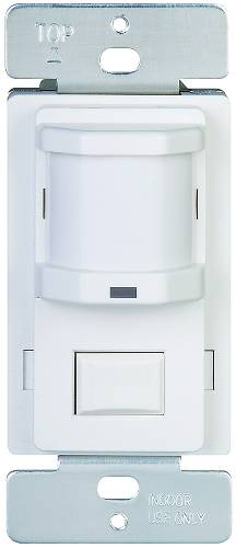 MOTION SENSOR, LIGHTS OFF & AUTO & ON PUSH BUTTON, 120 VOLT, 500 WATT, WHITE