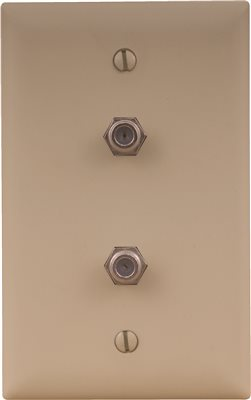 COAXIAL WALL PLATE DOUBLE CABLE JACK IVORY