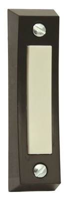 PREFERRED INDUSTRIES� PUSH BUTTON DOOR BELL, 3/4 X 2-3/4 IN., BLACK WITH IVORY BUTTON