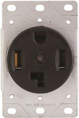 PREFERRED INDUSTRIES� 3-POLE FLUSH MOUNT DRYER RECEPTACLE, STRAIGHT BLADE, 4-WIRE, NEMA 14-30R, BLACK, 125/250 VOLTS, 30 AMP