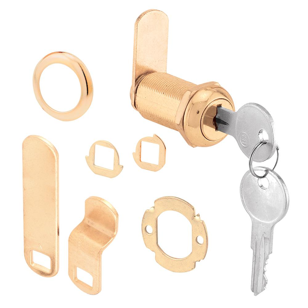 Prime-Line U 9953 Drawer and Cabinet Lock, Keyed, Die Cast, Brass
