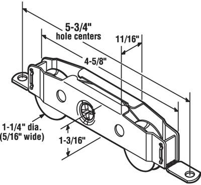1 1/4 Sliding Glass Door Roller Tandem Assembly