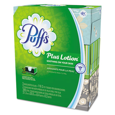 Plus Lotion Facial Tissue, White, 2-Ply,3 Boxes/Pack