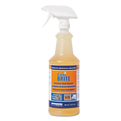 Citri-Brite Stainless Steel Cleaner/Polish, Citrus, 32 oz Bottle, 4/Carton