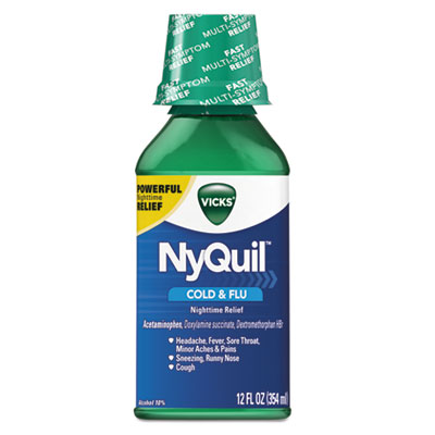 NyQuil Cold & Flu Nighttime Liquid, 12 oz Bottle