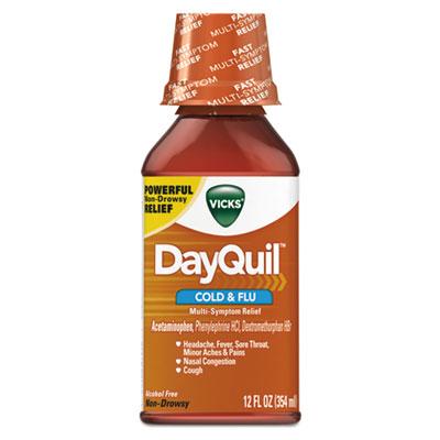 DayQuil Cold & Flu Liquid, 12 oz Bottle, 12/Carton