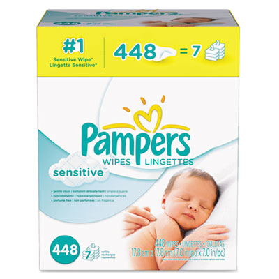 Sensitive Baby Wipes, White, Cotton, Unscented, 448/Carton