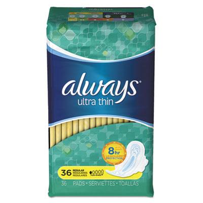 Ultra Thin Pads, Regular, 36/Pack, 6 Pack/Carton