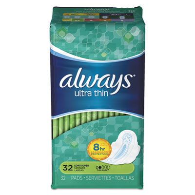 Ultra Thin Pads with Wings, Super Long, 32/Pack, 6 Packs/Carton