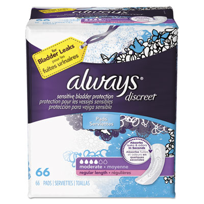 Discreet Sensitive Bladder Protection Pads, Regular, 66/Pack