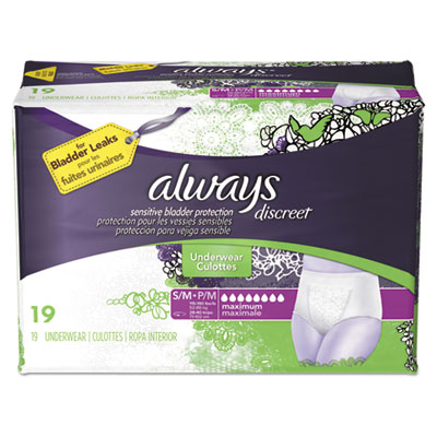 Discreet Incontinence Underwear, Small/Medium, Maximum Absorbency,19/Pack