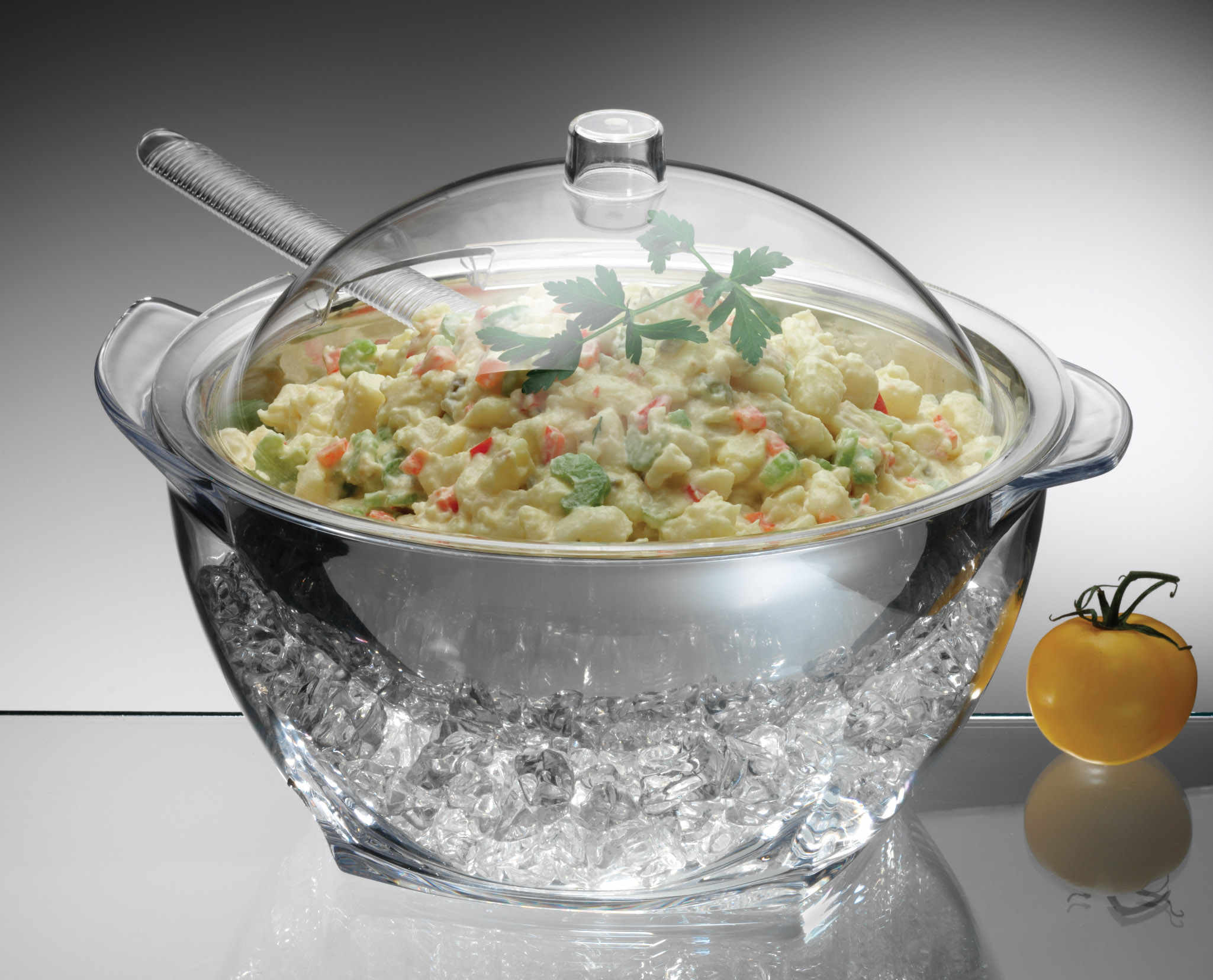 PRODYNE IC30 ICED SALAD WITH ACRYLIC DOME LID SALAD SERVERS