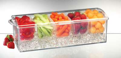 PRODYNE AB6 ACRYLIC CONDIMENTS ON ICE KEEP CHILLED FOR HOURS