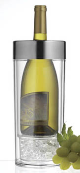 Prodyne Wi9 Acrylic Wine Cooler With Chrome Brushed Rim Keeps