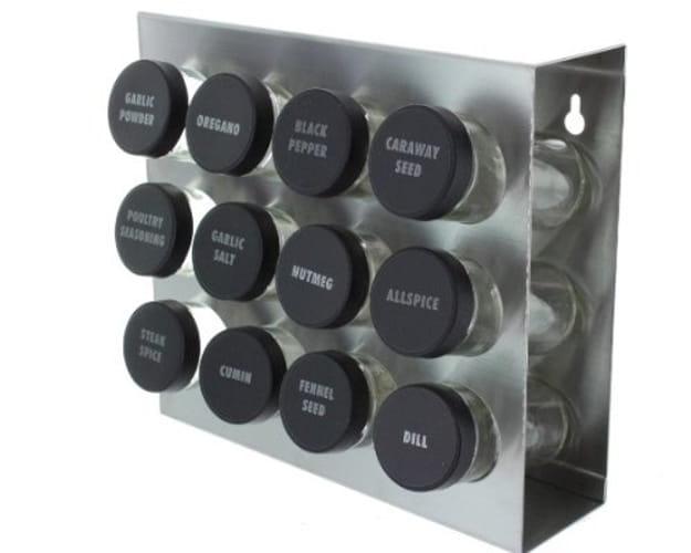 Prodyne M912 Stainless Steel Spice Rack 12 Bottle Black Lid