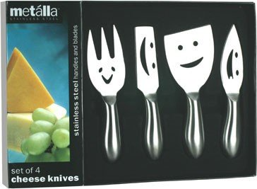 PRODYNE K4F STAINLESS STEEL SET OF 4 CHEESE KNIVES WITH