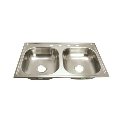 PROPLUS� 3-HOLE DOUBLE BOWL KITCHEN SINK FOR MOBILE HOMES, 24-GAUGE, STAINLESS STEEL, 33 X 19 X 6 IN.