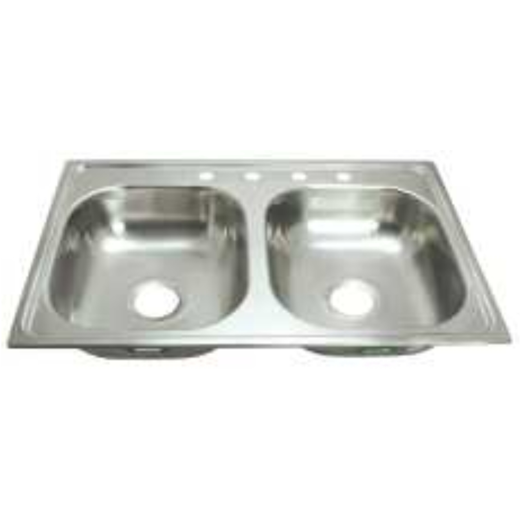 PROPLUS� 4-HOLE DOUBLE BOWL KITCHEN SINK FOR MOBILE HOMES, 24-GAUGE, STAINLESS STEEL, 33 X 19 X 6 IN.