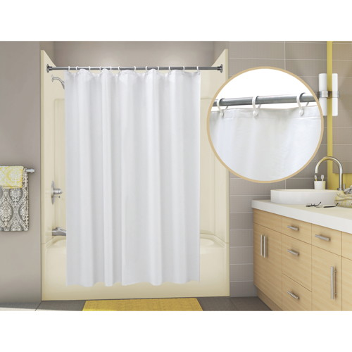 PROPLUS ECONOCORD VINYL SHOWER CURTAIN, 6 FT. X 6 FT., WHITE