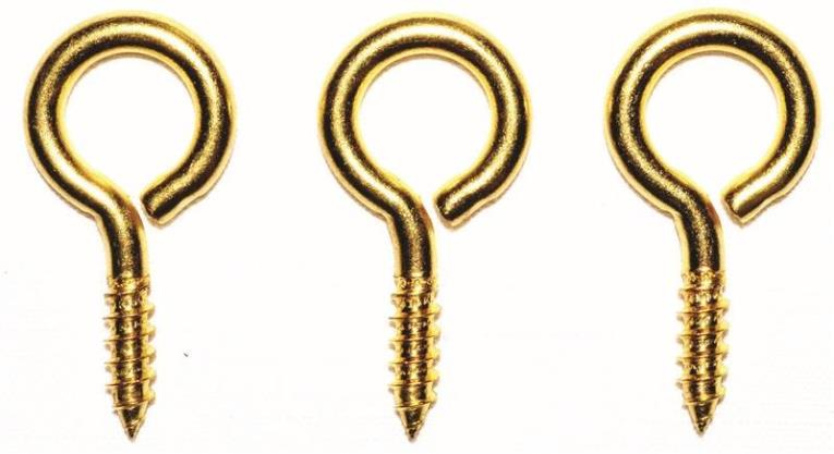 Prosource LR-240-PS Screw Eyes, Large - Brass, 17/32 x 1-15/16 In. Dia. x Lgth