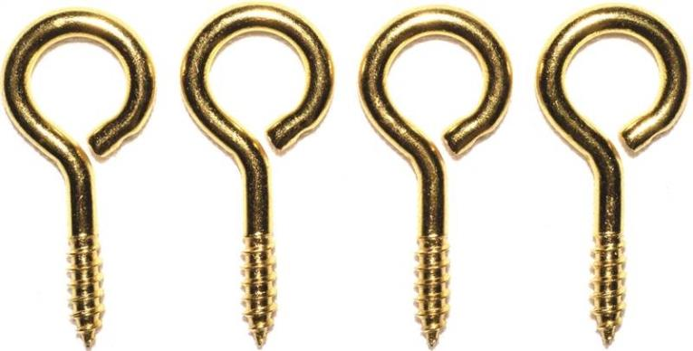 Prosource LR-242-PS Screw Eyes, Large - Brass, 13/32 x 1-3/8 In. Dia. x Lgth
