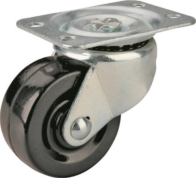 Mintcraft JC-H05 Heavy Duty Swivel Caster, 2 in Dia x 1-1/4 in W, 125 lb, Rubber