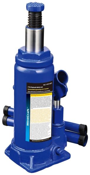 Mintcraft T010704 Heavy Duty Hydraulic Bottle Jack, 4 ton, 7-5/8 - 14-5/8 in H, Steel