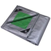 Mintcraft T0608GS140 Heavy Duty Poly Tarpaulin, 6 ft W X 8 ft L, Green/Silver