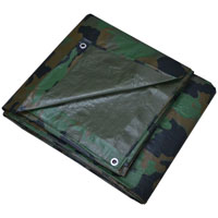 Prosource C1212110 Heavy Duty Poly Tarpaulin with Grommets, 12 ft W X 16 ft L, Camouflage