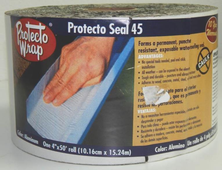 Protecto Seal 45 805204SW Exposable Waterproofing Membrane, 4 in W x 50 ft L x 45 mil T