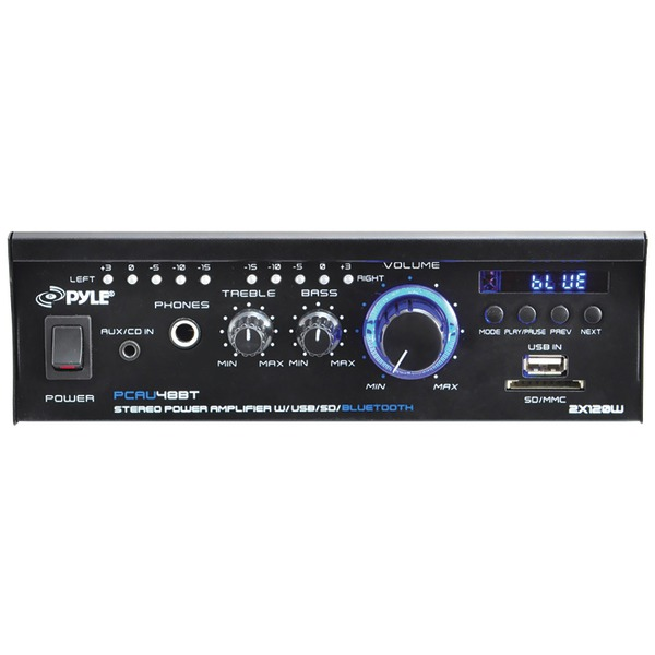 Pyle Home PCAU48BT 120-Watt Mini Blue Series Bluetooth Stereo Power Amp