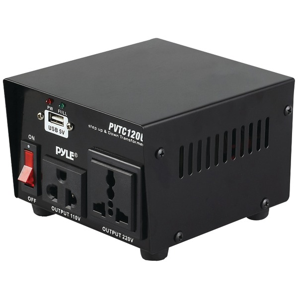 PYLE PRO PVTC120U Step Up & Down Voltage Converter Transformer with USB Charging Port (100 Watt)