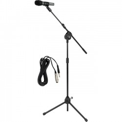PYLE PRO PMKSM20 Microphone & Tripod Stand with Extending Boom & Microphone Cable Package