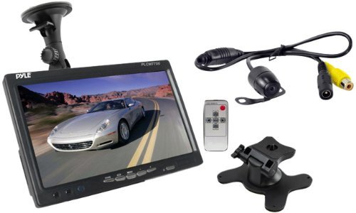 "PYLE PLCM7700 7"" Window Suction-Mount LCD Widescreen Monitor & Universal Mount Backup Color Camera with Distance-Scale Line"