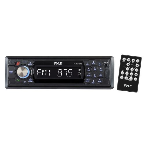 PYLE PLMR17BTB Marine Single-DIN In-Dash Mechless AM/FM Receiver with Detachable Face & Bluetooth (Black)