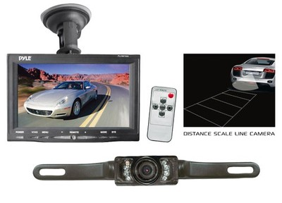 "Pyle PLCM7500 7"" Window Suction-Mount LCD Widescreen Monitor & License-Plate-Mount Backup Color Camera with Distance-Scale Li"