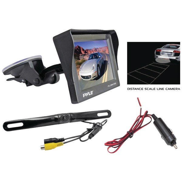 "Pyle PLCM4700 4.7"" Window Suction-Mount LCD Monitor with Die-Cast License Plate Mount Backup Color Camera & Distance-Scale Li"