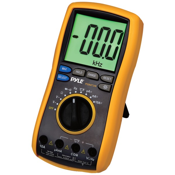 Pyle PDMT38 Digital LCD AC, DC, Volt, Current, Resistance & Range Multimeter with Rubber Case, Test Leads & Stand