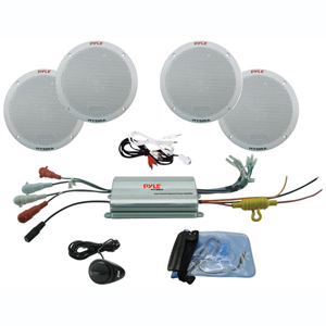 "PYLE PLMRKT4A Hydra Series 6.5"" 4-Channel Waterproof Amplified Marine Speaker System for MP3/iPod"